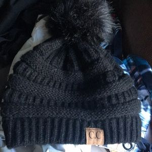 C.C. Winter beanie with faux fur ball on the top